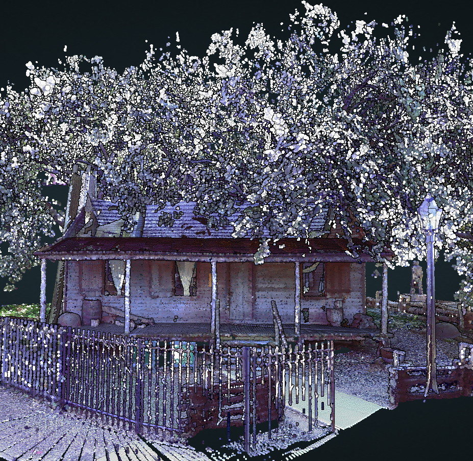 Historic Preservation Houston-laser scanning technology. 1823 Old Place-the oldest in Harris County.Buidling was scanned in 3D-pointcloud sample as-built